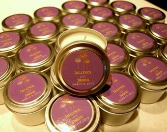 Wedding or Bridal Shower Favor Candles Travel Tin Gift