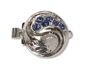 Elegant Elements Rhodium Plated 1-Strand Box Yin Yang Clasp with Sapphire Crystals (1)