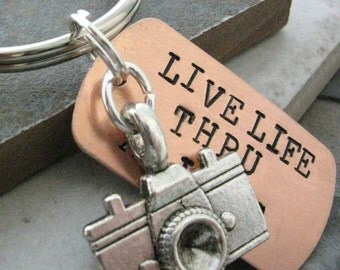 Camera Keychain, Live Life Thru A Lens, photographer gift, photography keychain, photography quote, optional initial disc, see pics,