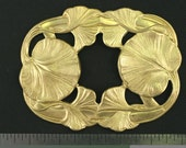 1pc Fabulous Ornate Vintage Style Raw Brass Victorian Art Nouveau Design Huge Lily Pad Connector Finding Lot (N128)