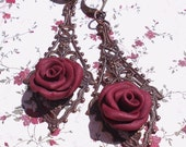 Vintage Filigree Pendant Earrings w Red Polymer Clay Roses