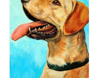 Labrador Retriever, Dog Art, Original Painting, SALE, 11x14, stretched canvas, Yellow Lab, Labs, Labrador Retriever Original Painting