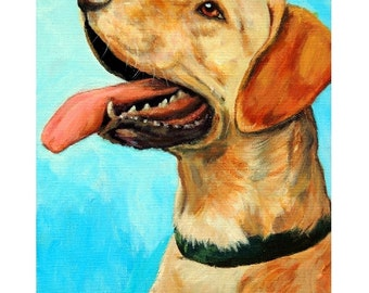 SALE - Labrador Retriever Art Original Acrylic Painting, 11x14  Lab Profile on Turquoise