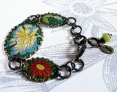 chinoise jardin - tin, brass and jade bracelet