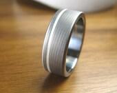 Titanium Silver Pinstripe Wedding Ring Comfort Fit