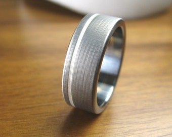 Titanium Silver Pinstripe Wedding Ring Comfort Fit