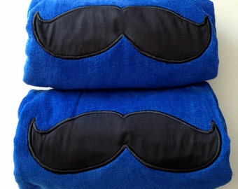 6 MUSTACHE BEACH Towels Embroidery and Applique 100% cotton terry velour - Made To Order Groomsmen Gifts