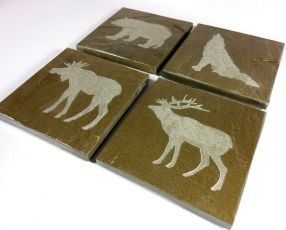 Woodland animals coasters carved natural by blythhousecreations - Slate drink coasters ...