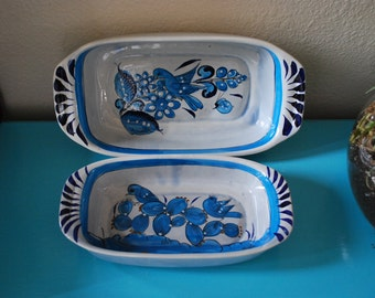 Vintage Mexican Pottery Serving Dishes Tonala Ken Edwards