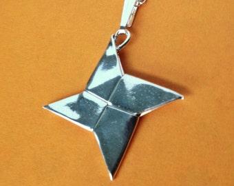 Silver Origami Shuriken Pendant, Ninja Star, Large