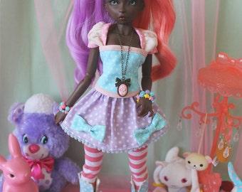 Fairy Kei Polka Dot MINI Skirt Purple and Blue for YoSD SlimMSD Minifee Raspberry Cute Lolita BJD Doll
