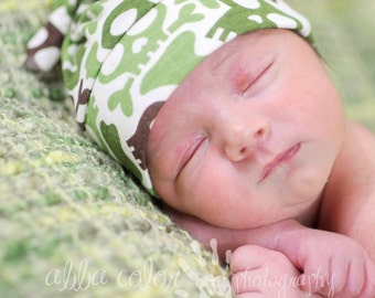 RockerByeBeanies Newborn Baby knit skull cap hat beanie Olive Green and brown Skulls for your baby boy