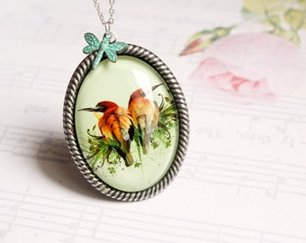 Exotic Garden - fauna and flora necklace - natural history, floral, vintage boho jewelry