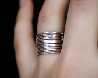 Sterling silver stacking rings, set of 15, thin silver ring, hammered silver rings, sterling silver stacking rings, large ring set