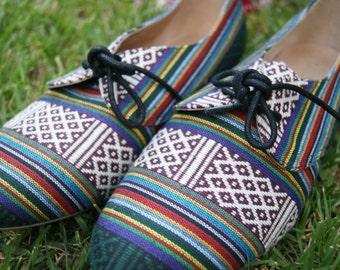 Geometric Tribal Ethnic Rainbow Walker Shoes . Size 40 US 9