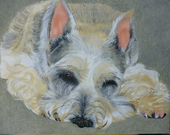 Schnauzer Pet Portrait Original Oil Painting 8 x 10 inches Made to Order by Pigatopia