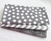 Burp Cloth Gift Set for Baby Girl or Baby Boy - Neutral Modern Essentials - Gray & White Trio - Set of 3 Burp Rags Chevron Dot Vine