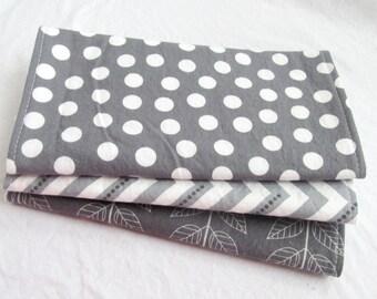 Burp Cloth Gift Set for Baby Girl or Baby Boy - Neutral Modern Essentials - Gray & White Trio - Set of 3 Burp Rags Chevron Dot Vine