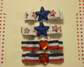 Girls - 4th of July alligator clip hair - set of 2