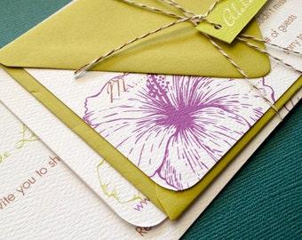 TWINE COLLECTION- Deposit, Vintage Hawaiian invitation, chartreuse green and dark purple