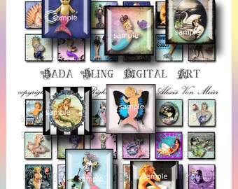 Altered Art Mermaids, mermaid collage sheets, inchies, INSTANT  Digital Download at Checkout, mermaid pendants