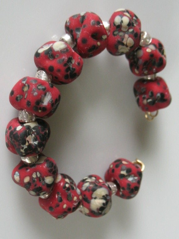 Lampwork beads-handmade glass etched beads-SRA