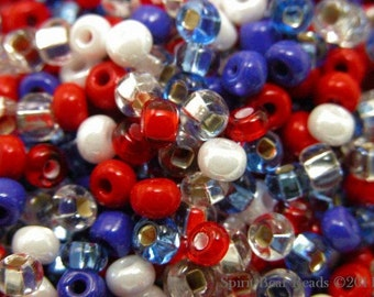 Happy 4th of JULY Bead Mix size 6 seed beads 50 grams