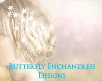 Wedding Hair Accessories, Bridal Hair Flowers, Wedding Hairpins - 12 Mini Stephanotis Flower Bridal Hair Pins
