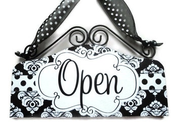 attention STORE OWNERS - this is a must have... Black and White Open Closed Sign Cute Boutique OPEN Closed Front Door Signage Shop Sign
