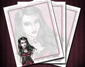 Vampire Printable Stationery Paper - Scrapbook Paper - Digital Download - Cassandra - by Nikki Burnette - PERSONAL USE ONLY