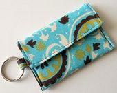 Mini Wallet Keychain in Aqua with Brown and citrine print