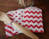 Red Paper Bags -- Favor, Goody, Gift -- set of 12 -- dots, stripes, chevron