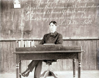 Vintage Photo Victorian Teacher at His Desk Classroom School