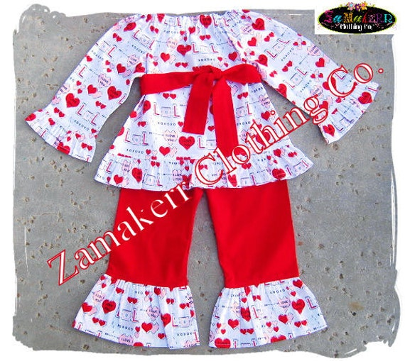 Girl Valentines Day Heart Outfit Toddler Baby Girl Custom