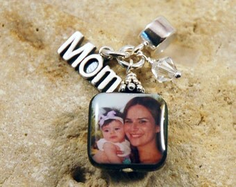 BESTSELLER - Custom Photo Mother of Pearl Charm with Mom Charm and Birthstone for European Charm Bracelets