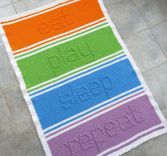 Crocheting Letters Into Blankets : Crochet Blanket With Letters Blanket Crochet Pattern
