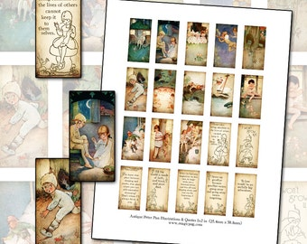 Antique Peter Pan quotes domino digital collage sheet 1x2 in 25mm x 50mm