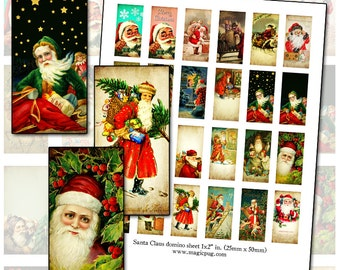 Antique Santa Claus domino digital collage sheet 25mm x 50mm 1x2 inch 25.4 mm 1x1 1""