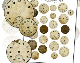 Antique Watch Dial Aged Version digital collage sheet for Altered Art Scrapbooking Mixed Media and more