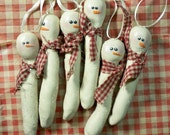 Primitive Icicle Snowman Handcrafted Personalized Ornament With Homespun Home Spun Fabric Scarf and Handmade Gift Tag OFG Team