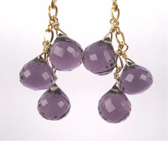 Amethyst Clip On Earrings, Gold Clipons, Purple Onion Briolette Ear Clips, Dangle, Handmade