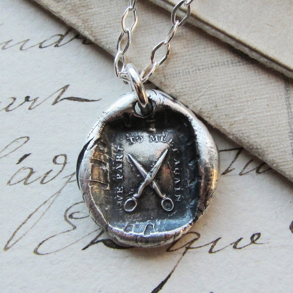 Scissors Wax Seal Necklace  We Part To Meet Again, Shear Necklace - wax seal jewelry in fine silver