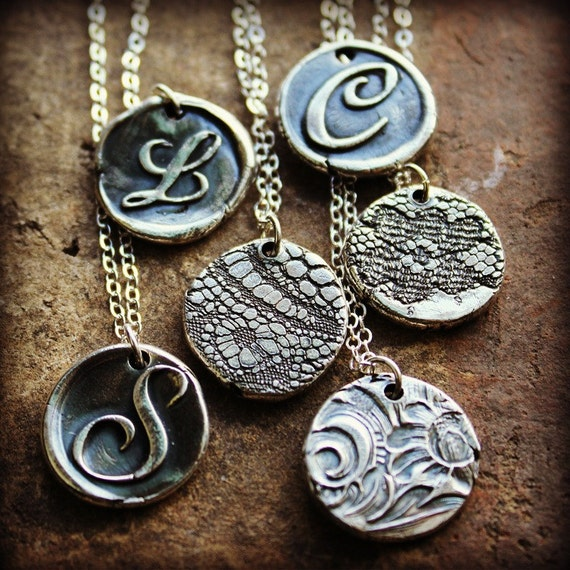 Wax Seal Monogram Necklace Reversible Lace imprint Vintage Inspired Pendant Silver Wax Seal Monogram Necklace custom eco friendly