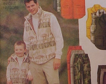 Father and Son Sewing Vest Pants Pattern UNCUT