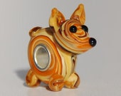 Handmade Yellow Dog Glass Lampwork Animal Bead fit Europian charm bracelets silver plated