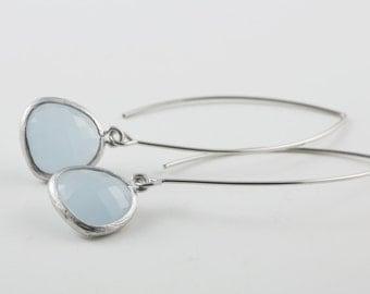 Blue, Pastel Grey Glass Teardrop Earrings With Silver Tone Frame