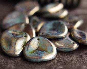 Persian Turquoise Bronze Picasso Czech Glass Bead 14mm Rose Petal :  12 pc