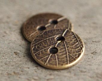 17mm Round Leaf TierraCast Pewter  Brass OX Button : 2 pc