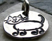 Silver Kitty Cat Charm, PMC Fine Silver, Animal Lover Jewelry