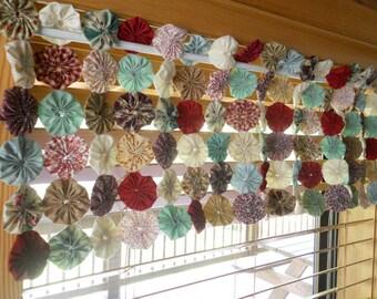 Window Valance, YoYo Quilt, Table Runner, Nursery Valance, Folk Art, Rustic Farmhouse Decor Cabin Wedding Photo Prop